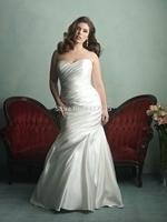 2014 New white lvory Satin Sweetheart Satin puls size Pleat wedding dress bridal gown custom US size ++