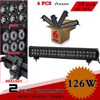 """6pcs 20"""" 126W CREE LED Light Bar 12V 24V Adjustable Bracket For Truck Tractor Offroad Fog Light LED Worklight Save on 120W 240W"""