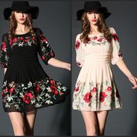women summer dress 2015 spring fashion chiffon flowers embroidery pullovers plus size xl xxl xxxl 3xl one-piece casual dress