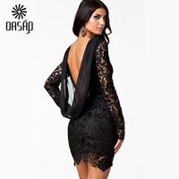 OASAP Women Summer Dress Longsleeve Black  Lace Crochet Open  Vintage Dresses Roupas Femininas Vestidos Casual tFree Shipping