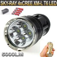 SKY RAY KING 4xT6 4xCree XM-L T6 5000 Lumens 3-Mode LED Flashlight Torch Lamp+4pcs 18650 battery+1pcs charger
