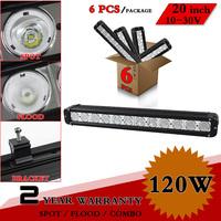"""6pcs 20"""" 120W LED Light Bar For Truck Tractor ATV 12V 24V Fog Light 4x4 Offroad Led Worklight Save on 180W 240W External Light"""