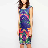 2015 Ladies Sexy Slim Bodycon Printed Pencil Dress Tight Hip Package Dress Back Deep Cocktail Wear GD0131