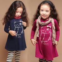 2015 NEW Spring fashion cotton girl dress long sleeves baby girl princess dress Children girls cartoon owl casual clothes