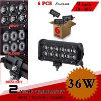 "6pcs 9"" inch 36W CREE LED Work Light Bar Adjustable Bracket For Truck SUV ATV Offroad Fog Light LED Worklight Save on 72W 100W"