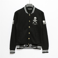 2014 silveryarn mmj embroidery skull sweatshirt outerwear baseball clothing casual lovers