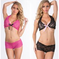 2pcs Womens Sexy Lingerie Nightwear Underwear Sleepwear Lace Perspective Seduce