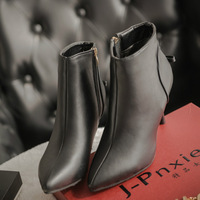 2015 New Winter Women's Fashion Black Boots,High Quality Ladies PU Leather Pointed Toe High Heels Ankle Boots Women SSBL02