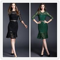 Fashion Women Sexy Lace Dresses O-neck Half Sleeves vestido de renda Ladies Solid Hollow Party Dress roupas femininas CX853668