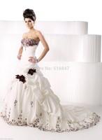 FDCL Custom Size New Elegant Ivory With Red Flowers Mermaid Bridal Gown Swetheart Beading Taffeta Floor-Length Wedding Dresses