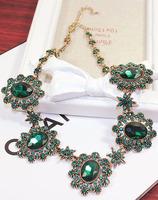Restart exaggerated Baroque emerald crystal gem banquet short necklace