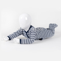 High Quality 100% Cotton Yarn Dye Stripes Spring and Autumn Season Long Sleeve Footie New Born Baby Boy Romper