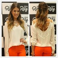Hot Selling Women Sexy Lace Shirt camisas Hollow Long Sleeves Blusas Chiffon Loose Blouse White Tops roupas femininas CX853648