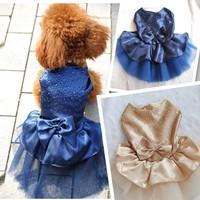 1pc/lot Hot Sale Dog Puppy Wedding Party Lace Skirt Clothes Patchwork Bow Tutu Princess Dress Pet Apparel PA659014