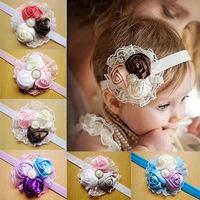 Baby Girls Lace Rose Flower Elastic Headband Kids Head Hair Accessories Princess Headband Hairband Boutique Headwear FS239