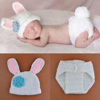 New Lovely Animal Rabbit Design Nursling Babies Photography Props Hat+Shorts Suits Infant Toddler Handmade Set 1set MZS-15019