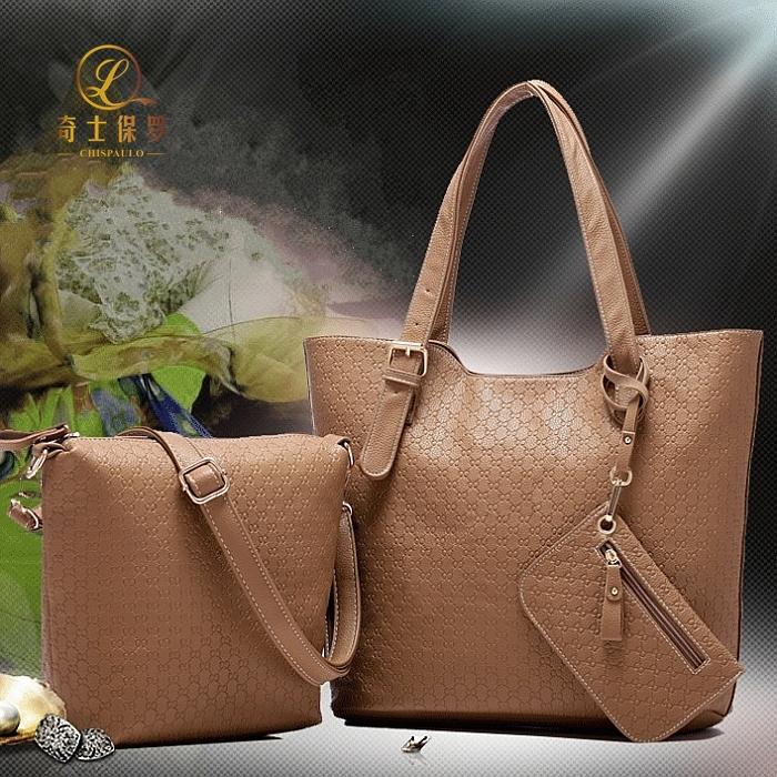 Trend 2014 women's handbag one shoulder bag cross-body handbag litchi piece set picture package women's bags(China (Mainland))