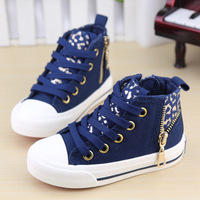 2015 new leopard print gossip casual child canvas shoes male shoes girls big boy kids fashion sneakers size 23-37