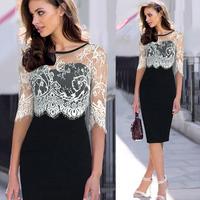 Dropshipping 2015 Newest Women Elegant Lace Patchwork Fashion Pretty Casual Dress S-XXL