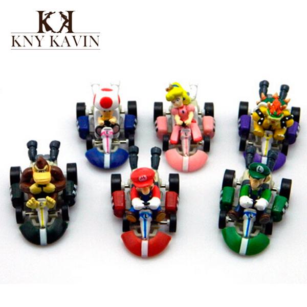 6pcs/Lot Mario Japanese Anime Action Figure Bros Luigi Boys Kids Toys Scale models Hot Kids Toys Go-kart Toy HT187800MU(China (Mainland))