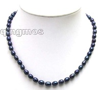 "SALE Big 7-8MM Rice BLACK Natural Freshwater PEARL 17"" NECKLACE-5591  whole sale and retail Free shipping"