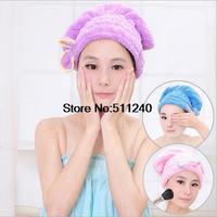 2015 hot sale Coral Velvet magic dry hair cap shower cap super absorbent microfiber dry hair towel