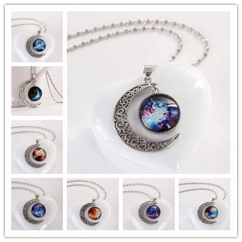 Fashion Women Galactic Glass Cabochon Pendant Silver-Tone Crescent Moon Necklace(China (Mainland))