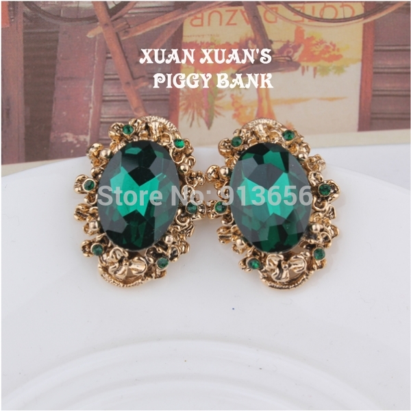 Amazing Big Fashion vintage Ruby/Emerald crystal stud earring female,for women's party gift(China (Mainland))