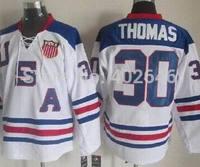 2010 winter O-lympic Team U-S-A #30 Tim Thomas white ice hockey jerseys, please read size chart before order