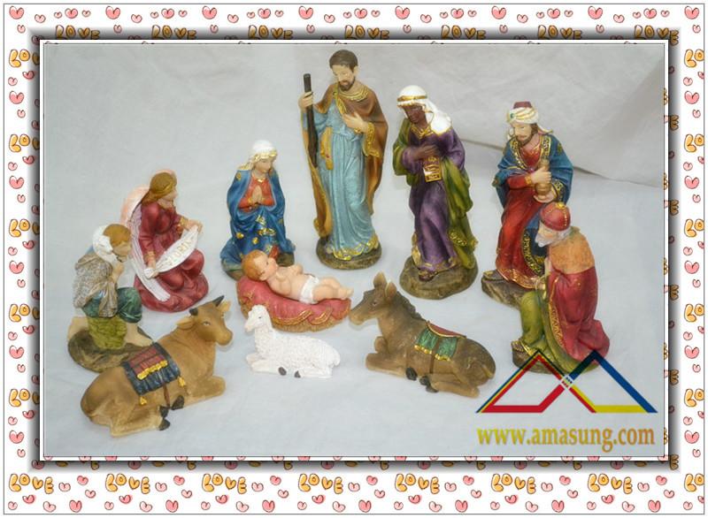 (1 Set / lot ) 8''H Religious Natural Resin Christmas Nativity Set Scene, Custom Resin Nativity Set Crafts(China (Mainland))