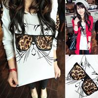 New Fashion Girl Women Casual Cat Leopard Long Sleeve T-Shirt Blouse Top Free Shipping  K5BO