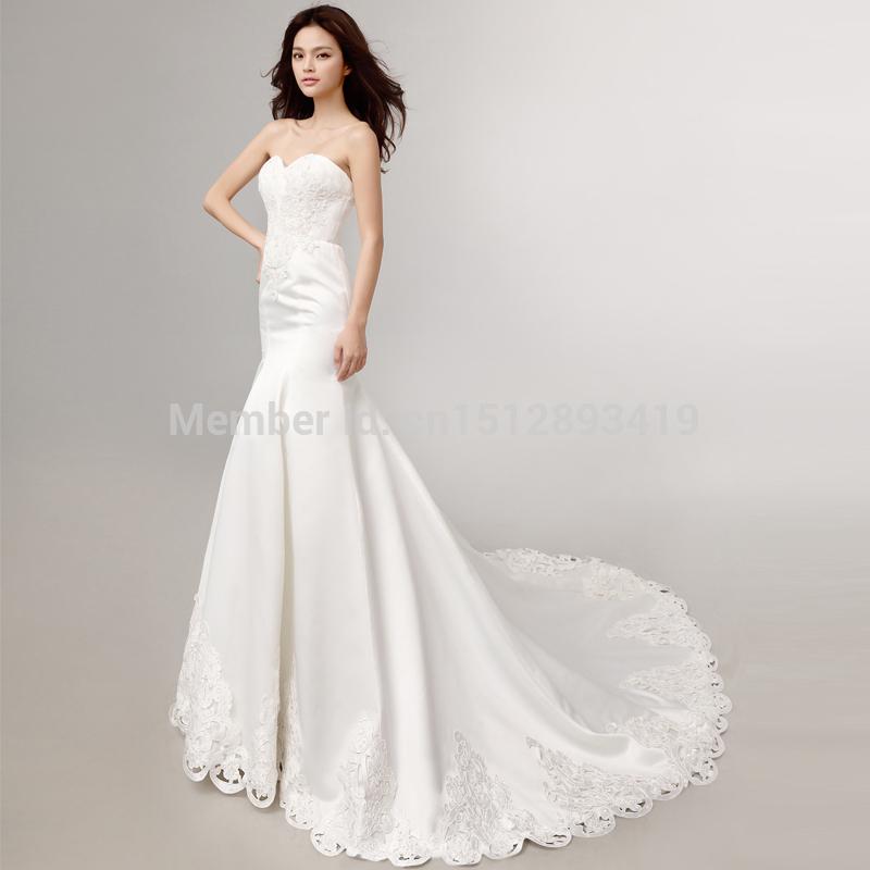 Free shippingmermaid wedding dresses with long train Sweetheart Backless Satin Lace Plus Size corset wedding dresses 2015 vestid(China (Mainland))