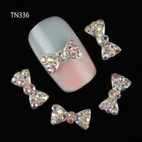 10Pcs New 2015 3D Nail Tools Colorful Bownot Rhinestone For Nails Alloy Nail Art Decorations Glitters DIY TN336