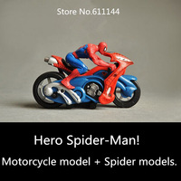 2015 New Film Comics Hero Spider-Man Model toy Dolls,Spiderman driving a motorcycle Set Design 16cm*9cm Kids Toys Free Shipping