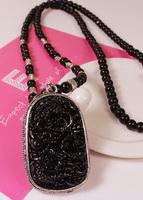 Folk Style Black Onyx enamel Thailand amulet like God beads beaded necklace of male and female long sweater chain