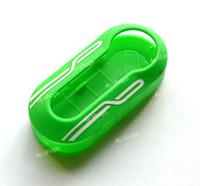 Stripe Wave Printed Green Hard Outside Case Cover Combined Shell For Fiat 500 Brava Panda Punto Flip Key