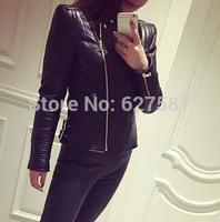 2015 Famous Brand Jacket 100% genuine leather jacket Womens black Leather outerwear Jackets for Women sheepskin dropship