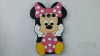 For Samsung Galaxy core2 G355H 3D Minnie Mouse Pink Cute Protective Soft Silicone Rubber Back Phone Covers Free Shipping 1PCS