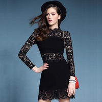 2015 High Quality Fashion Women Celebrity Elegant Belted Crochet Lace Tunic Long Sleeve Cocktail Party Work Bodycon Sheath Dress
