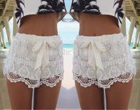 2015 Hot fashion style women crochet lace shorts white casual drawstring shorts S-XL