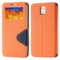 For Note 3 Hot Deluxe Flip Wallet Leather Case for Samsung Galaxy Note3 III Stand Fashion With Credit Slot Window Cover YXF04129