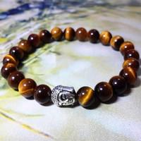 2015 New Fashion Charm Bracelets Handmade Tiger Eye Stone Beads Buddha Bracelets Round Beads Bracelet Yoga Bracelet