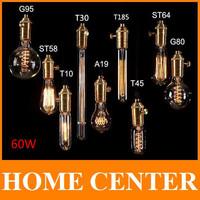 Antique Retro Vintage 60W 220V Edison Light Bulb E27 Incandescent Light Bulbs ST64 G80 Squirrel-cage Filament Bulb Edison Lamp
