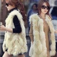 2015 New High Quality Fashion Women Ladies Faux Fur Autumn Winter Warm Vest Waistcoat Shaggy Coat Sleeveless Jacket Plus Size