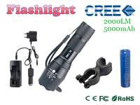 cree  t6 high power 2000 lumens adjustable led flashlight + DC/Car Charger + 1 * 18650 5000mAh battery + Holder