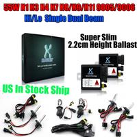 US Stock Free Ship Car HID Slim Ballast 35W Conversion Kit Headlight Bulbs H1 H3 H4 H7 H8 H9 H11 9004/5/6/7 4300K 6000K 10000K