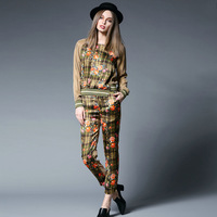 women summer 2015 spring fashion flowers print patchwork patterns casual shirt pants trousers set twinset