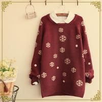 Winter women's small o-neck long-sleeve sweater