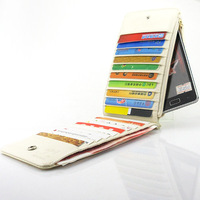 Case grain patent leather card pack Leather Wallet Phone Purse Case For SAMSUNG i8250