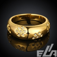 2015  Wedding bands  18K real yellow gold Plated flower rings US Size 7-8